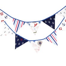 12 Flags 3.2m Pirate Theme Cotton Fabric Bunting Pennant Flag Banner Garland Wedding/Birthday/Baby Shower Party Decoration