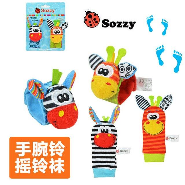 SOZZY 2 unids/par muñequera traqueteo pie calcetines anillo campana colorido bebé juguete de desarrollo felpa recién nacido suave muñeca Linda