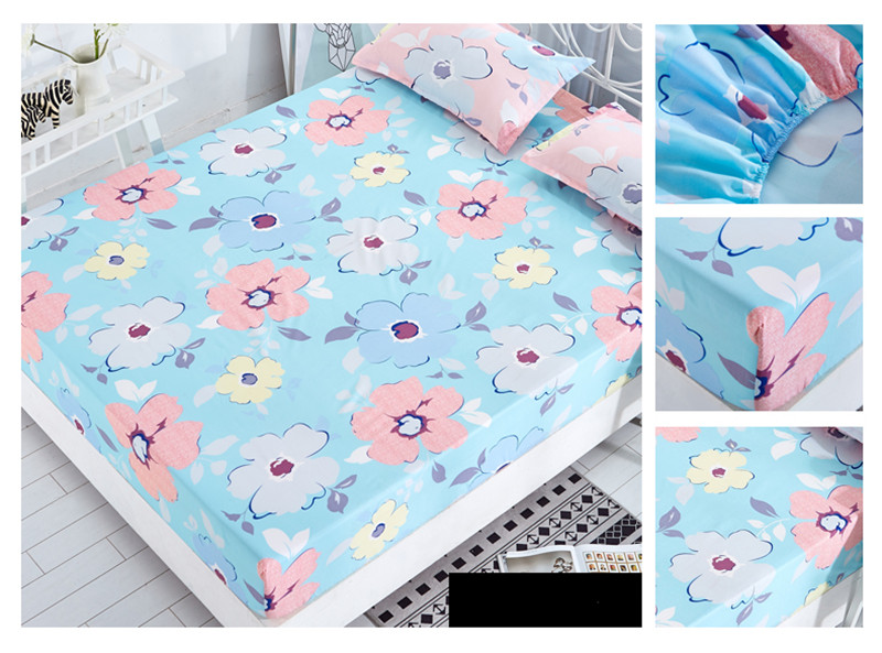 Bed Linen Fitted Sheet Cover Mattress Cover with All inclusive Rubber Band Four Season Printed Bed Sheet Cover colchas para cama in Bedspread from Home Garden
