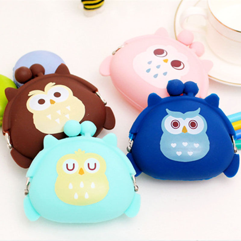 Kawaii Candy Owl Wallet Silicone Small Pouch Cute Coin Purse for Girl Key Rubber Wallet Children Mini Animal Case Storage Bag cute emoji silicone coin purse small fresh coin bag white mini key wallet new monederos muchacha 7921