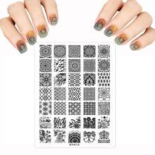 Многие штамповки акрил шаблоны штамп плиты лак nail art цветок пластиковые