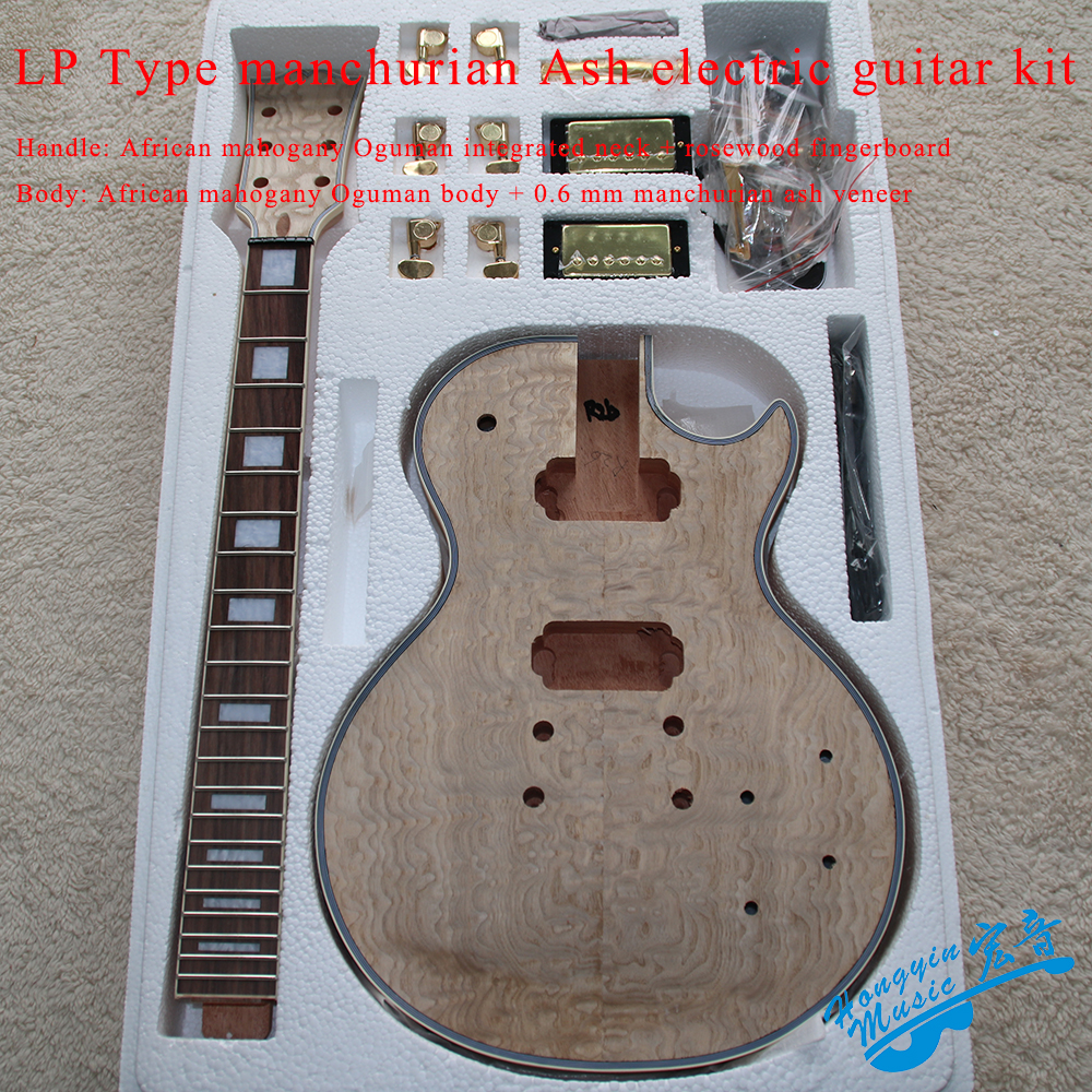 LP Style Electric Guitar DIY Kit African Mahogany Oguman Integrated Neck