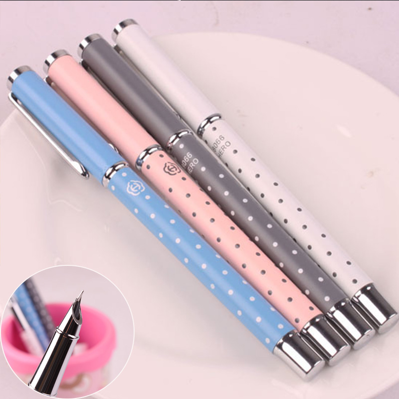 0.38mm High Quality Metal Fountain Pen Ink Pen Kawaii Dot Calligraphy Pen For Writing Students Stationery Office School Supplies