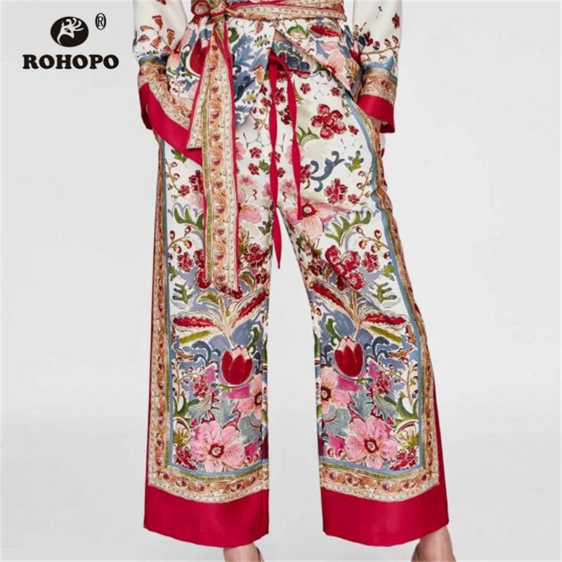 ROHOPO Women Boho Printed Retro   Pant   Tie Belted   Wide     Leg   Vintage Indian Ladies High Waist Floral   Wide     Leg     Pant   Girl Bottoms