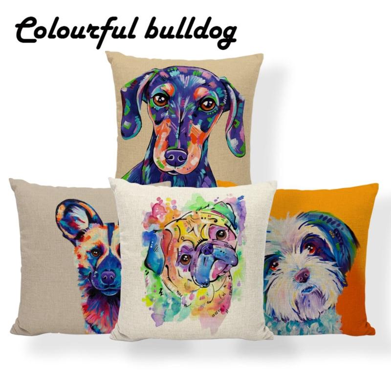 Pug Dalmatians Cushion Pillow Dachshund Pillow Cover Oil Printed Football Room Baby Birth Gifts Throw Pillow Cases 45X45Cm Linen