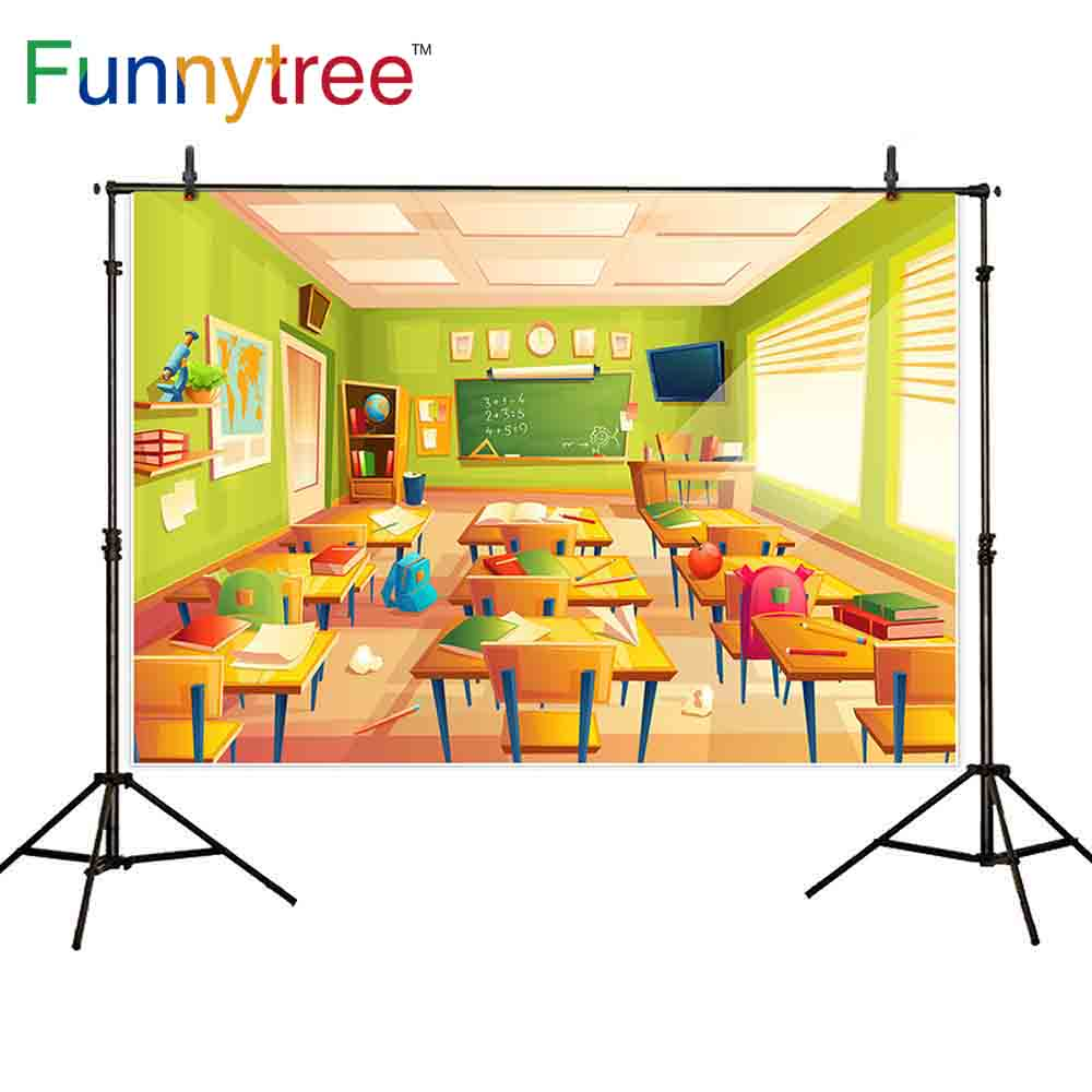 Funnytree backdrop for photo studio classroom back to school cartoon student desk photography background photobooth photocall image