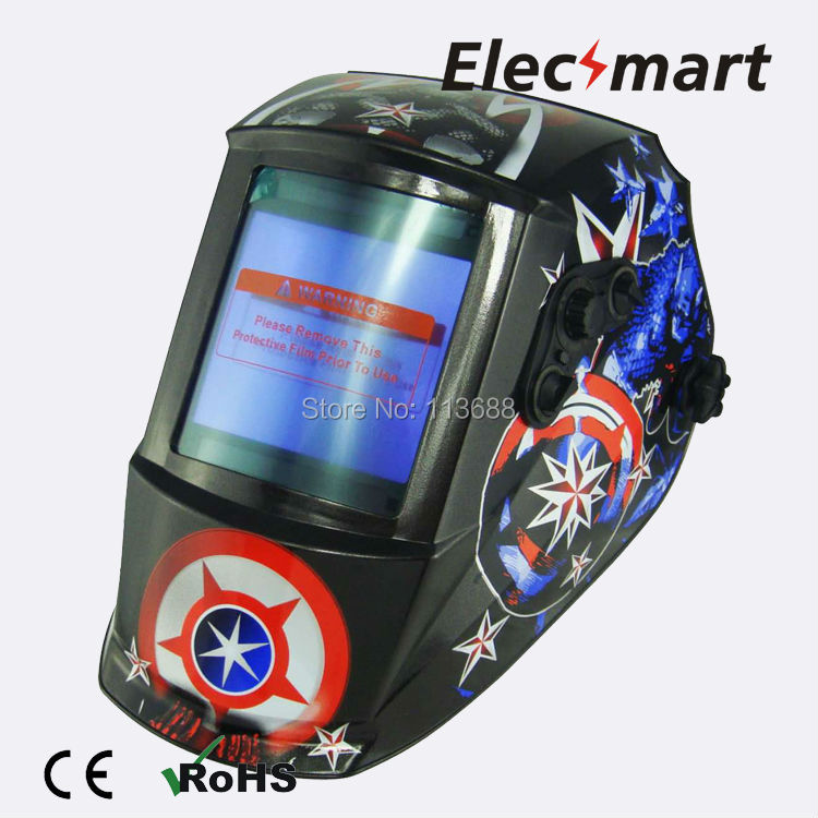 American captain Auto darkening welding helmet TIG MIG MMA electric welding mask/helmet/welder cap/lens for welding fire flames auto darkening solar powered welder stepless adjust mask skull lens for welding helmet tools machine free shipping