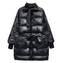 2019 Spring Fashion Women Cotton Coat Long Butterfly Knot Shiny Glossy Parkas New Bread Pocket Warm Female Padded Jacket Pj348