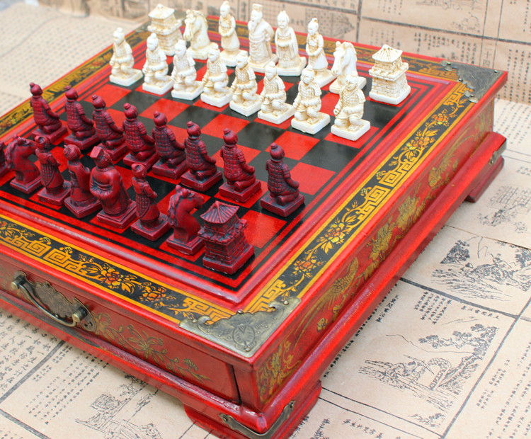 Chess Set Pawn Perspective Trumpet Wood Chess Board Terracotta Character Figues Dolls Chess Collection Souvenirs chess and mathematical thinking