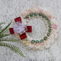 Free Shipping(1pcs/lot)Sea Shell Wreath Natural Shell&Conch Beach Wedding Decor Handmade Coastal Home Decor For Front Door