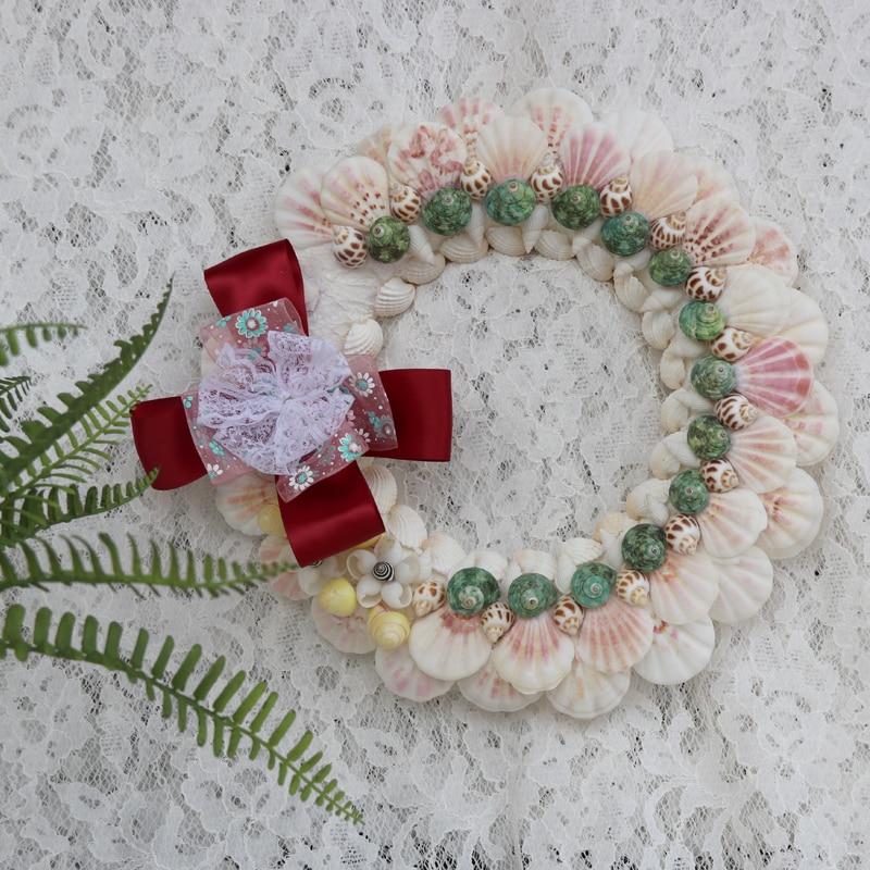 Livraison gratuite (1 pcs/lot) couronne de coquillage de mer coquille naturelle et conque plage décor de mariage fait à la main décor à la maison côtière pour porte d'entrée