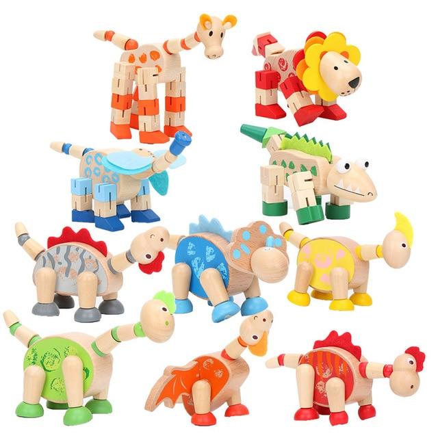 10 pçs/lote 10-15 cm Crianças modelo animal de madeira Animais de Dinossauros Brinquedos De Madeira do presente do natal