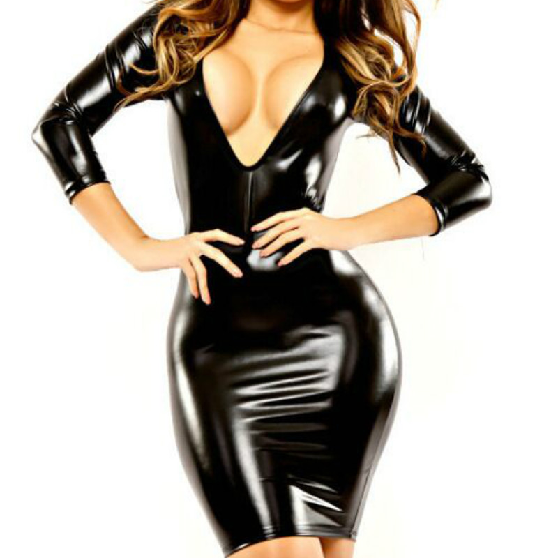 New Fashion Women's Halter Posh Nightclub Tight Leather Package Hip Dress Women Girls