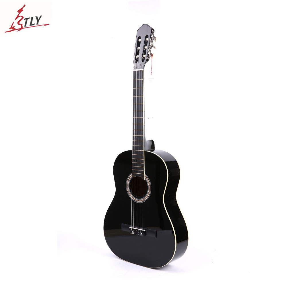 "Hot Sale Factory 39 ""Beginner Classic Guitar Basswood 6 cuerdas White Bordure Students Black Guitarra"