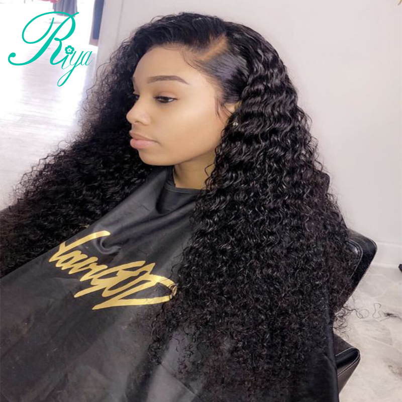 13x6 Lace Front Human Hair Wigs For Women Natural Black Pre Plucked 150 Density Brazilian Remy Curly Human Hair Wig Riya Hair