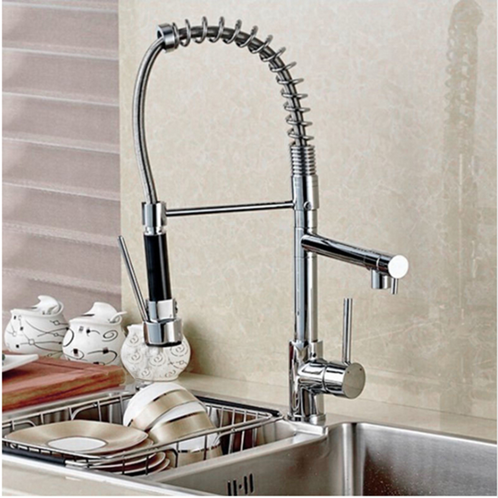 Uythner Chrome Solid Brass Kitchen Faucet Swivel Spout Spring Vessel Sink Mixer Tap Single Handle Hole new pull out sprayer kitchen faucet swivel spout vessel sink mixer tap single handle hole hot and cold