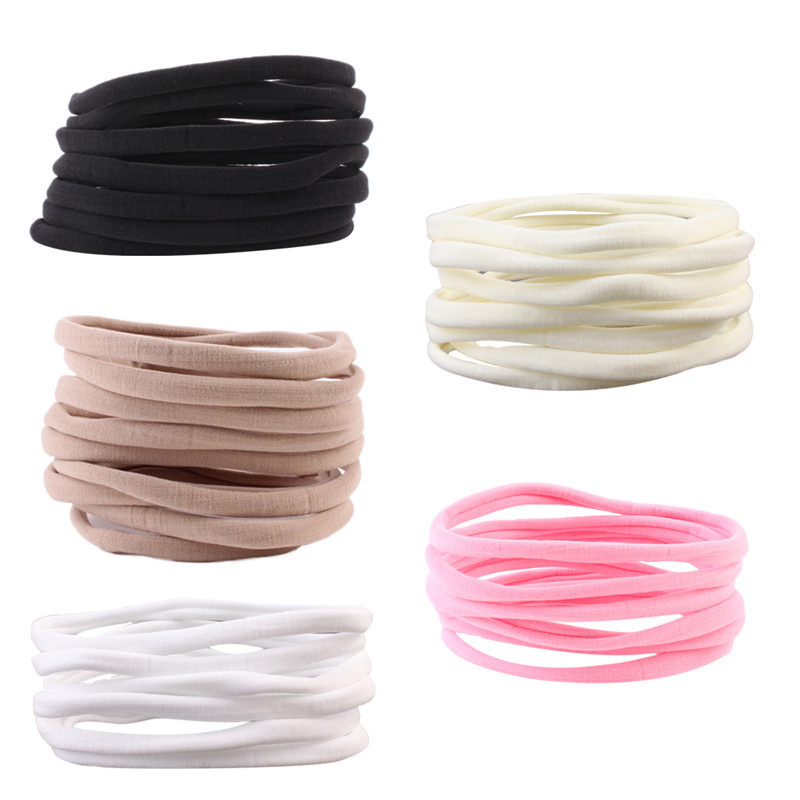 High Quality 10pcs/lot Solid Elastic Nylon Hair Band For Girls Baby Headbands  Kids Hair Band Hair Accessories Hot Sale