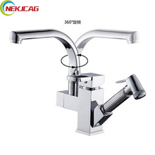 Polished Chrome Deck Mounted Kitchen Faucet Dual Spouts Sink Mixer Tap Rotation Kitchen Hot Cold Water Taps