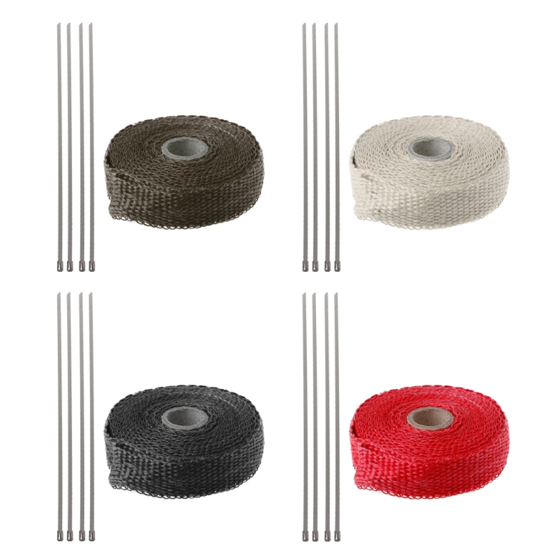 5M Car Motorcycle Turbo Manifold Heat Exhaust Wrap Tape Thermal Stainless Ties -m20