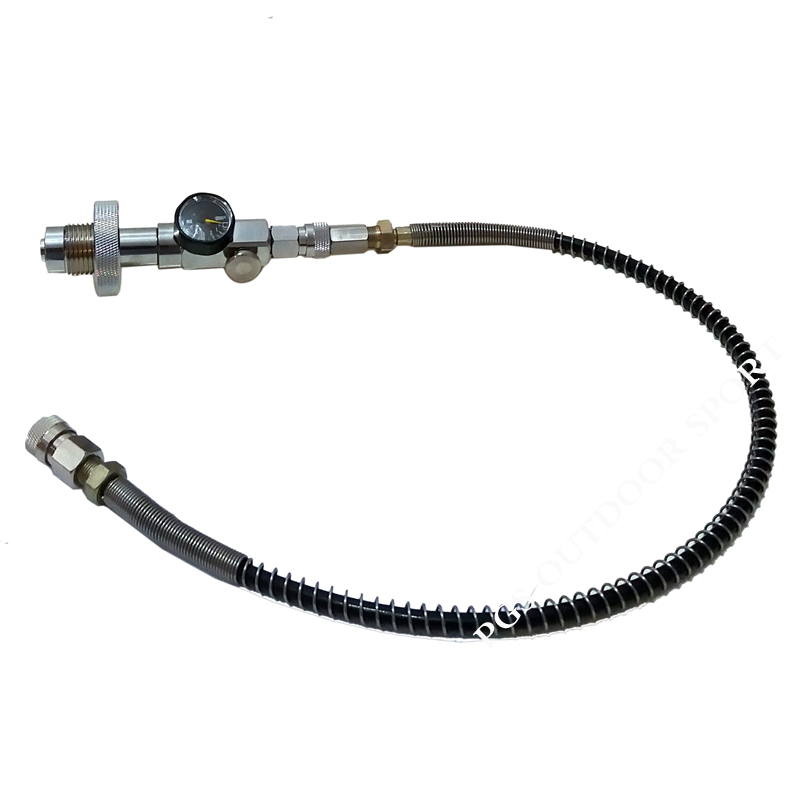 "Image 2 - Paintball PCP Fill Station 300bar/4500psi Din G5/8"" Charging Adapter w/10"" Steel Braided Hose/20"" Spring Reinforced Hose-in Paintball Accessories from Sports & Entertainment"