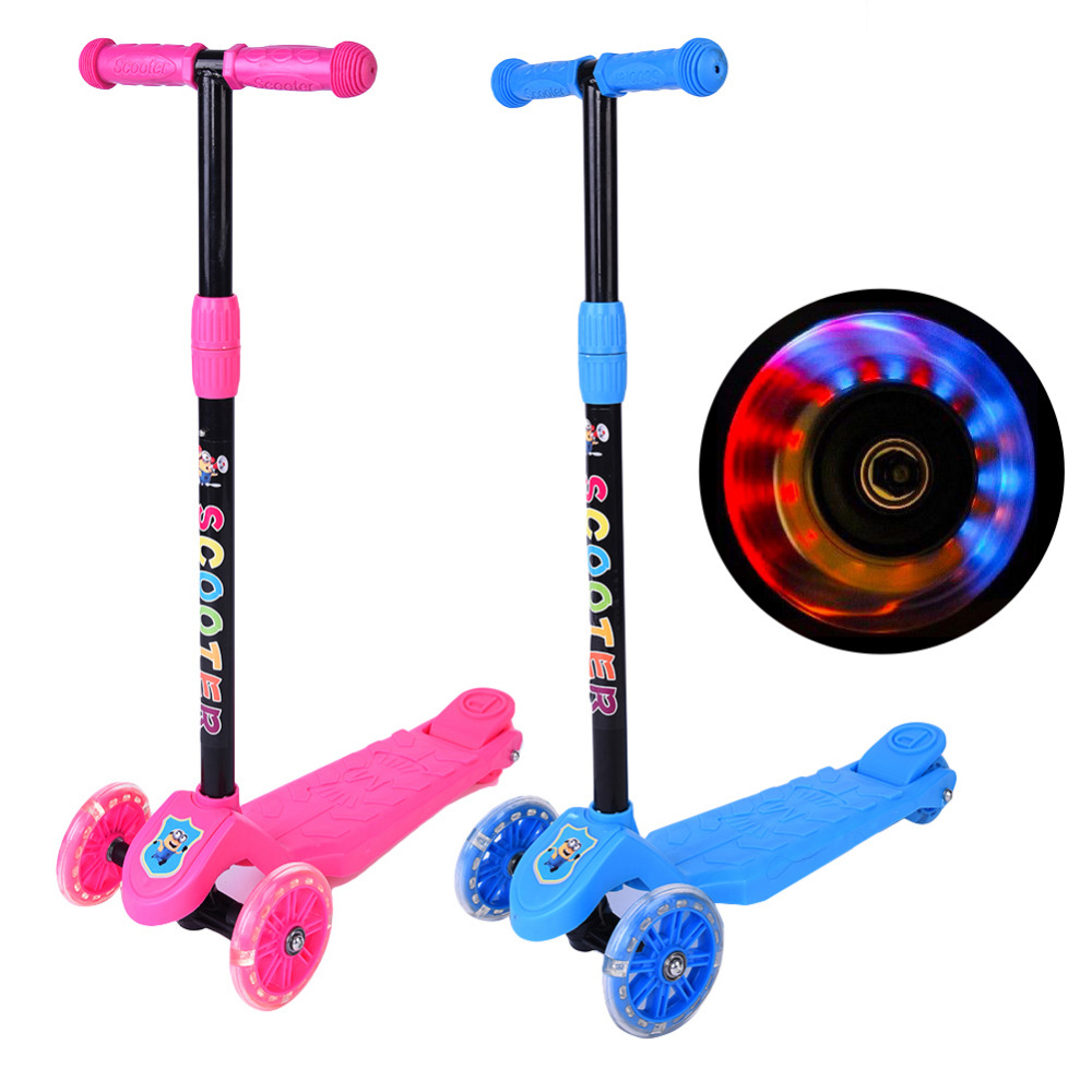New 1pc LED Mini Push T-bar 3 LED Wheel Kick Scooter Adjustable Kids Children Foot-scooter Gifts toys Wholesale