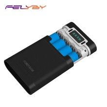 FELYBY taşınabilir güç bankası kutusu 18650 pil şarj aleti mobil güç kutusu ile LED ışık çift USB çıkışı ile cep telefonu için