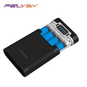 Image 1 - FELYBY taşınabilir güç bankası kutusu 18650 pil şarj aleti mobil güç kutusu ile LED ışık çift USB çıkışı ile cep telefonu için