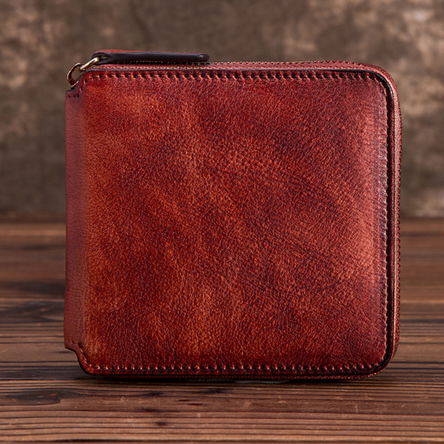 Natural Skin Women Zipper Purse Bag Multi-Card Holder Handy Money Coin Pocket Retro Bifold Genuine Leather Clutch Mini Wallet
