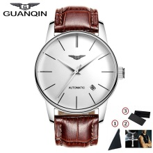 High Quality GUANQIN Men Watch Top Famous Brand Mechanical Watch Luxury Sapphire Waterproof Watches Leather Male Wristwatches brand men watch guanqin luxury watches fashion casual sports wristwatches boy mechanical watch leather waterproof clock gj16025