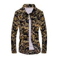 Męskie Koszulki Moda 2017 Wiosna Projektowania Mody Mężczyzna Kwiatowe Koszule męskie Kultywowania Własnej Moralności Plus-size Denim i Kwiat Mężczyzn
