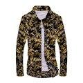 Mens Shirts Moda 2017 Primavera Diseño de Moda Para Hombre Camisas Florales de Los Hombres Cultiva Su Moralidad de talla grande de Mezclilla y de La Flor de Los Hombres