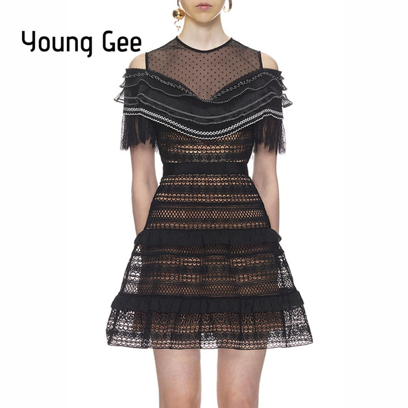 Young Gee Elegant Women 2019 Summer Black Casual A Line Mini Dress Trunic Hollow Out Stripe