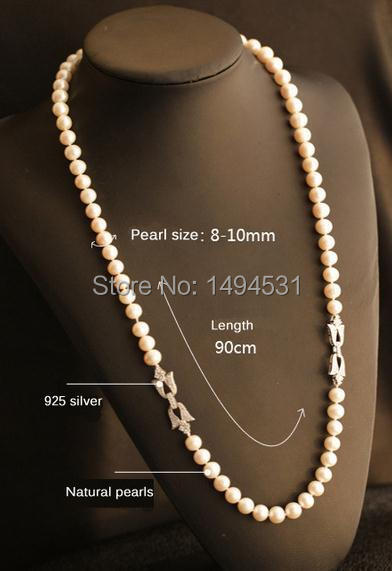 Natural Pearls Necklace 925 Silver Flower Clasp Czech Dia  Mond Long Necklace Women's Pearl Jewelry Top Quality Girl's Best Gift-in Choker Necklaces from Jewelry & Accessories    2