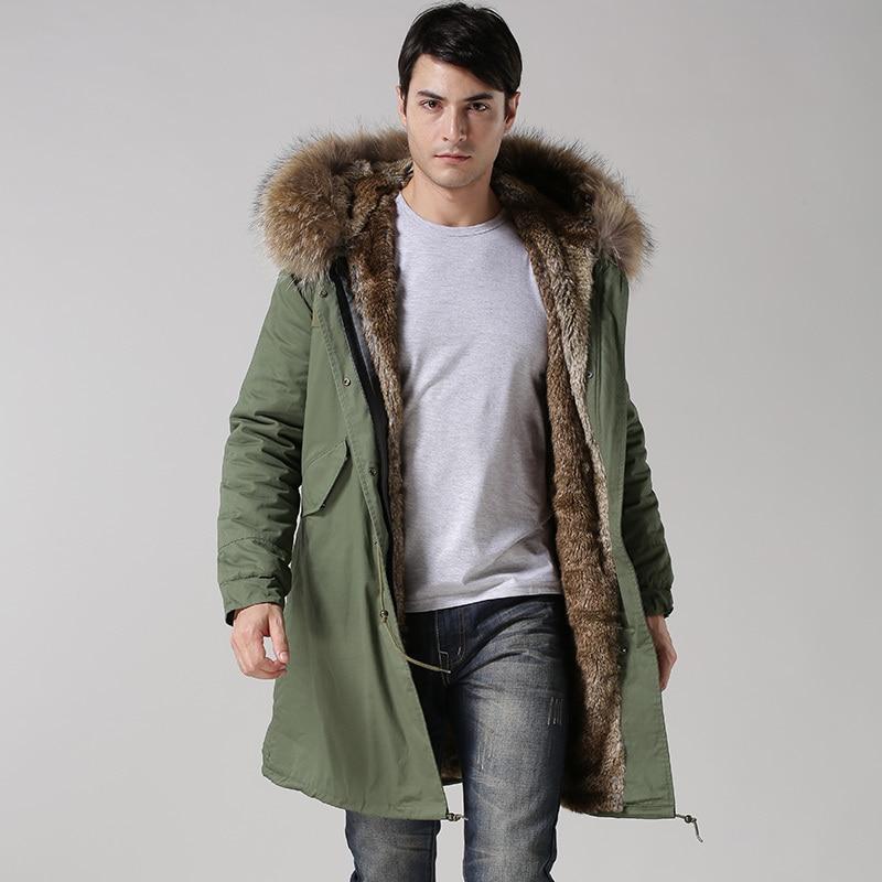 2017 Hiver Casual Mens réel col outwear manteaux militaire homme veste d'hiver longue veste hommes Parka Manteaux