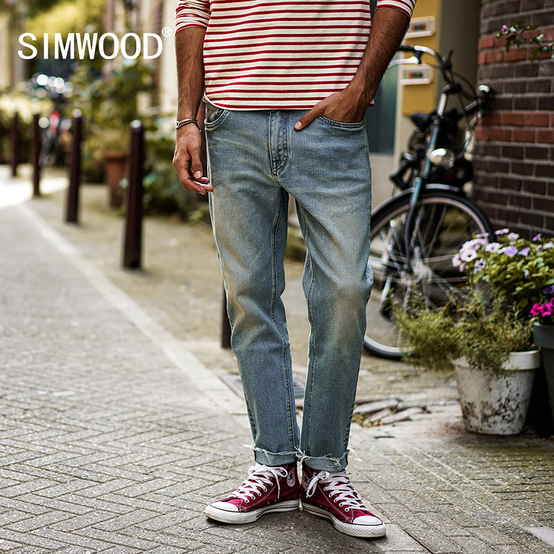 SIMWOOD 2017 Autumn Fashion Men Brand Jeans Casual Male Denim Pants Trousers Cotton Straight Plus Size Jeans NC017044 men s jeans men male pants 2017 new men s cotton denim trousers vmc brand men s mid waist straight fashion casual pants