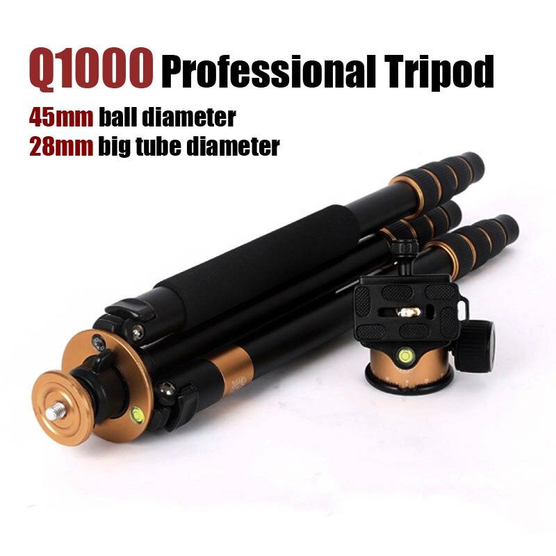 Original QZSD Q1000 Professional Tripod Stand for Canon Nikon Sony Digital SLR DSLR Camera Stable 45mm