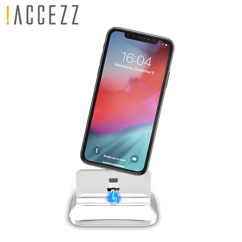 !ACCEZZ Magnetic Phone Stand Holder For Iphone XR XS MAX X 8 7 6 6s 5 Plus Type-C Micro USB Lighting Desktop Charger For Xiaomi