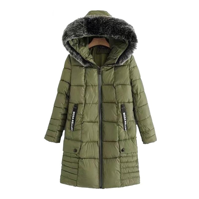 Femmes Chaud Capuchon army D'hiver 2018 Manteau Femelle Plus Col Desserrer De Noir Jaqueta Longue Fourrure Dames gris Green La Survêtement Parka Taille À Veste Feminina wYzZqw