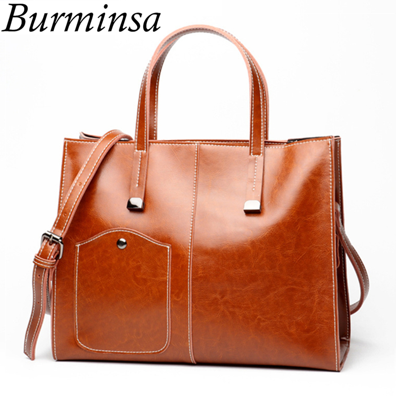 Burminsa Brand Oi Wax Split Leather Handbags Designer Large Capacity Bucket Tote Bags High Quality Shoulder Bags For Women 2017 1pc white or green polishing paste wax polishing compounds for high lustre finishing on steels hard metals durale quality
