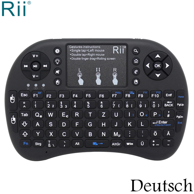 baf284ede1b Rii i8+ German Deutsch Backlight 2.4GHz Wireless Mini Keyboard Air Mouse  with TouchPad for Android