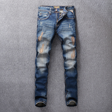 Italian Vintage Style Fashion Men Jeans Patch Designer Embroidery Ripped Jeans Men Denim Pants Streetwear Hip Hop Jeans homme newsosoo fashion men streetwear ripped jeans pants personality distressed patch denim trousers multi zippers patterns embroidery