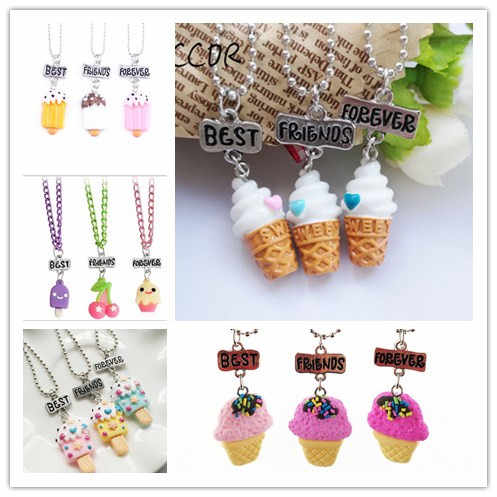 "3PCS/Set Friendship  Candy Ice Cream Stereo Imitation BFF Necklace For Children ""Best Friends Forever"" Jewelry CCOR"