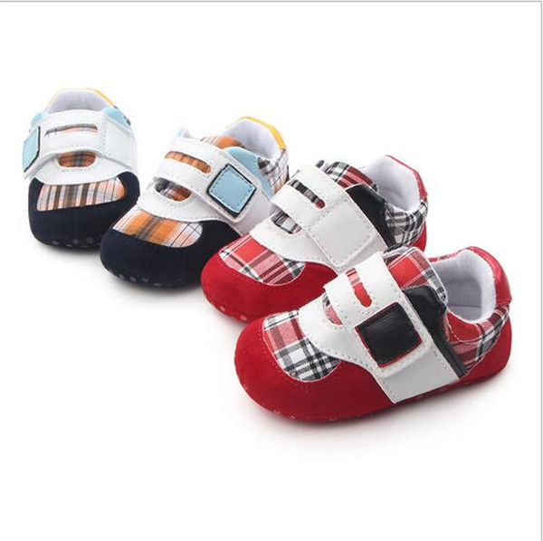 2017 Nye Plaid baby Soft Sole Sko Småbarn First Walkers Antislip Spædbørn Drenge Sportssko