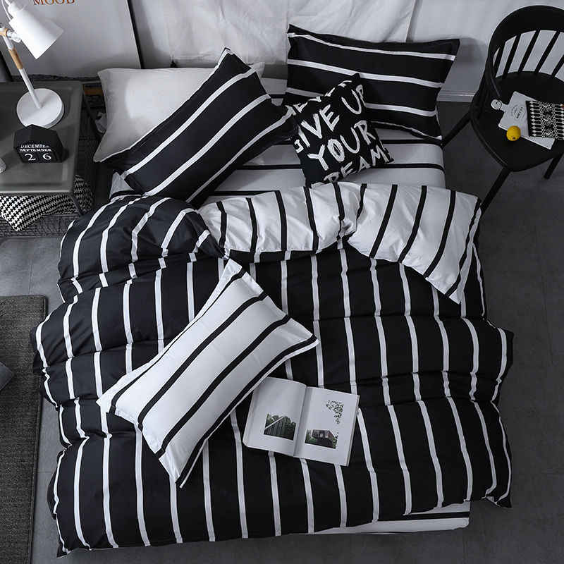 XIPA home textile king bed twin bed sheets black-and-white striped fashion star duvet cover pillowcase boy teenage bedding Girl