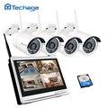 Techage 4ch 1080 p sistema de câmera de segurança sem fio 12