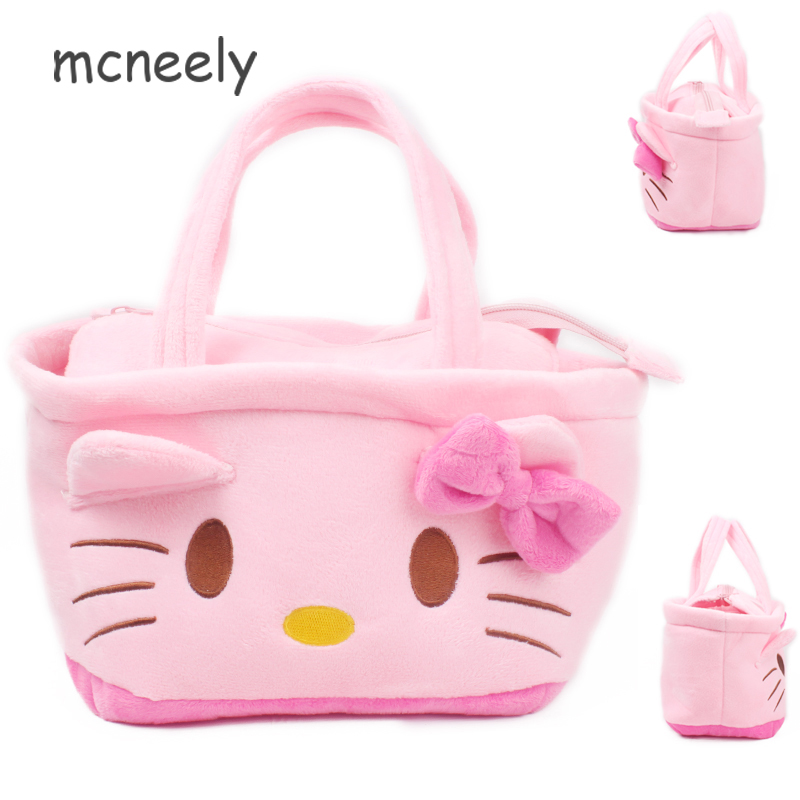 Mcneely Cute Cartoon kitty kids handbag Flannel Student lunch bag ladies kettle bag girl stationery bags women plush gift bags