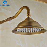 Ulgksd 8 Rainfall Shower Head Bathroom Faucet Ancessory Antique Brass Wall Mounted Replacement Shower Wholesale And