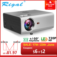 Rigal RD825 Mini Projector Native 1280 x 720P LED WiFi Projector Android 6.0 3D Beamer Support HD 1080P Portable TV Home Theater