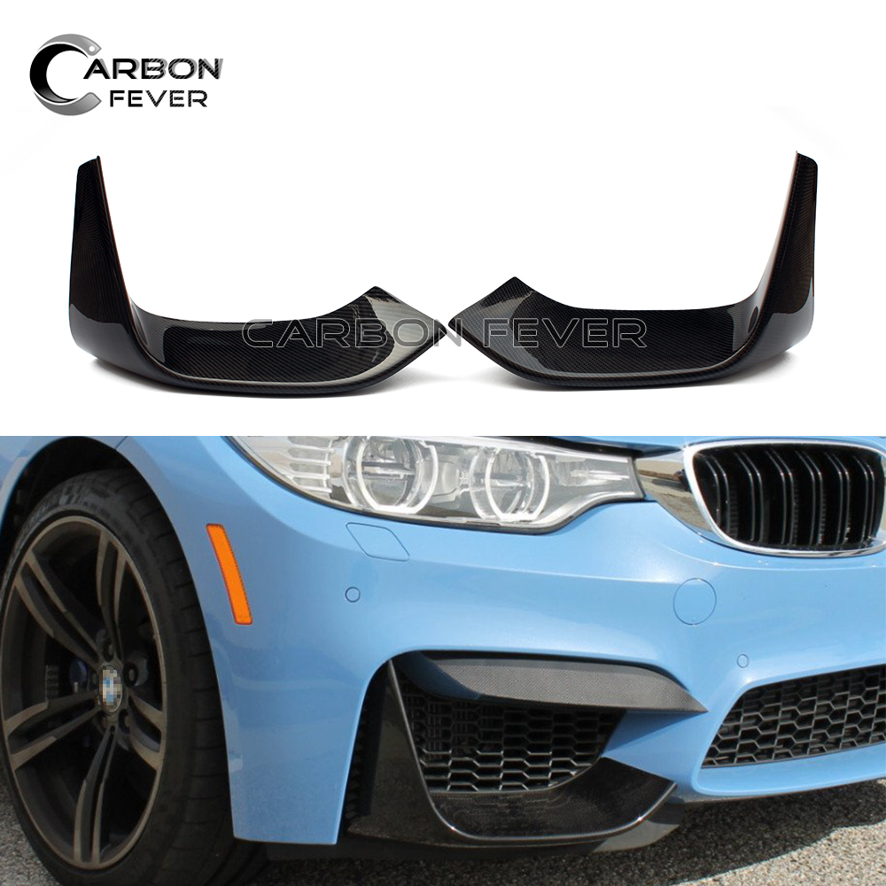 M3 M4 Carbon Fiber Front Bumper Splitter Corner Spoiler Lip For BMW F80 F82 F83 2014 + carbon fiber car rear bumper extension lip spoiler diffuser for bmw x6 e71 e72 2008 2014 xdrive 35i 50i black frp