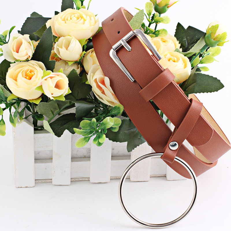 Fashion Punk O Ring Belt for Women Female Leather Square Metal Pin Buckle Straps Solid 5 Color Belts Fashionable Off White Belt in Women 39 s Belts from Apparel Accessories